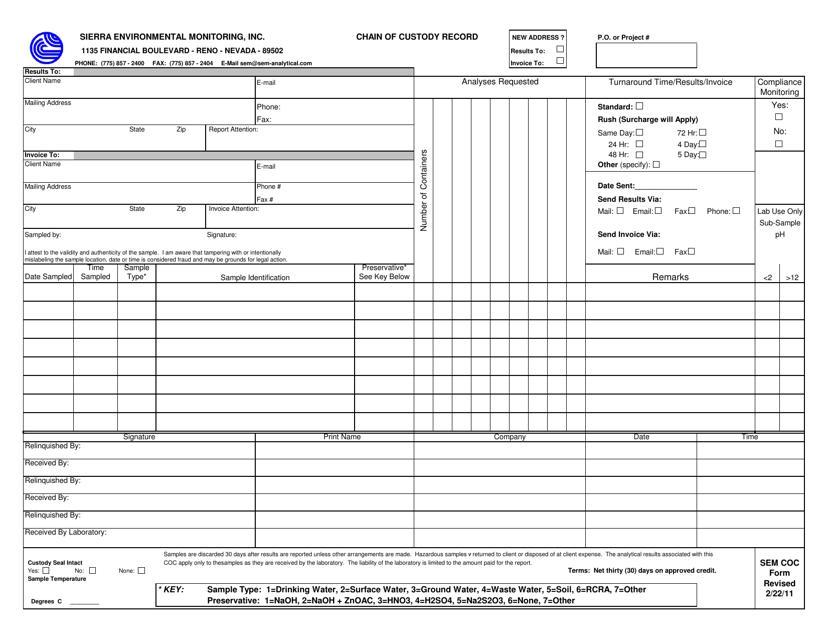 """Chain of Custody Record Template - Sierra Environmental Monitoring, Inc"" Download Pdf"