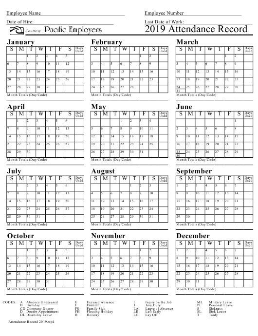 """""""Attendance Record Calendar Template - Pacific Employers"""" Download Pdf"""