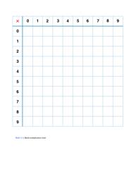 Blank Multiplication Chart 0-9