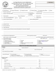 "Form BL001 ""Business License Application"" - City of Las Vegas, Nevada"