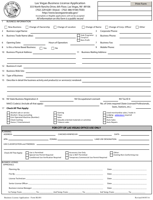 Form Bl001 Download Fillable Pdf Or Fill Online Business License Application City Of Las Vegas Nevada Templateroller