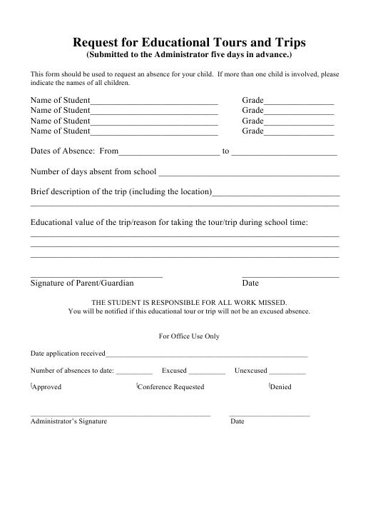 """""""Educational Tours and TRiPS Request Template"""" Download Pdf"""