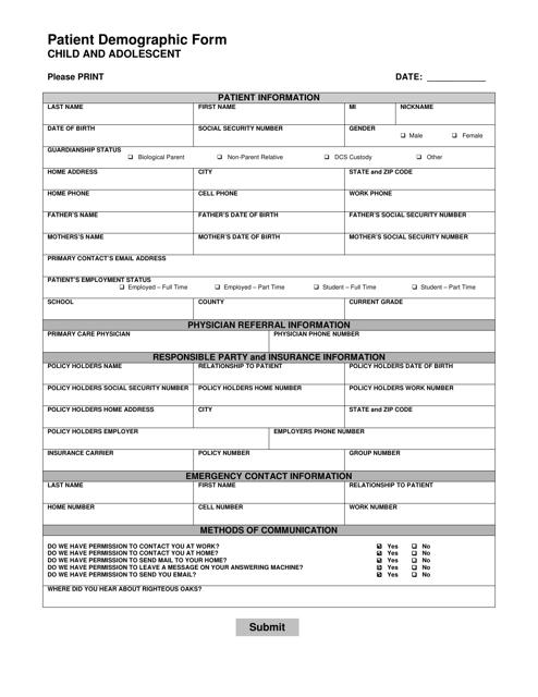 """Child and Adolescent Patient Demographic Form - Righteous Oaks"" Download Pdf"