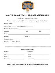 """""""Youth Basketball Registration Form - Champs Basketball"""""""