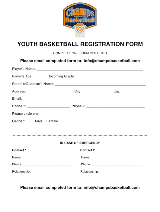 Youth Basketball Registration Form Champs Basketball