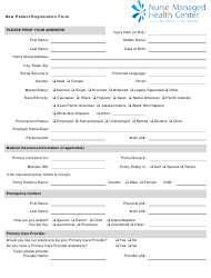 """New Patient Registration Form - Nurse Managed Health Center at the University of Delaware"""