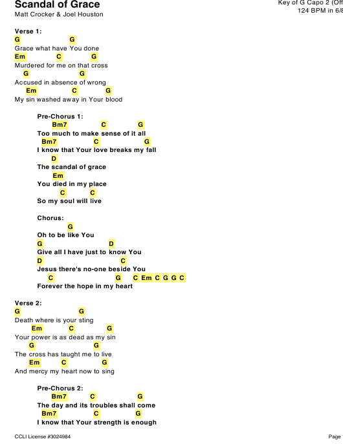 """Matt Crocker & Joel Houston - Scandal of Grace Capo Chord Chart (Key of G)"" Download Pdf"
