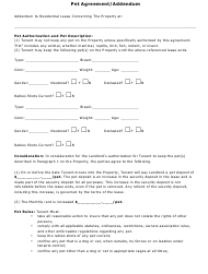 Pet Agreement Form Templates Pdf Download Fill And Print