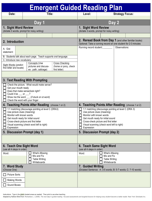 """""""Emergent Guided Reading Plan Template"""" Download Pdf"""