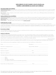 """Family Leave (Nlfla) & Family and Medical Leave Act (Fmla) Application Form"" - Wall Township, New Jersey"