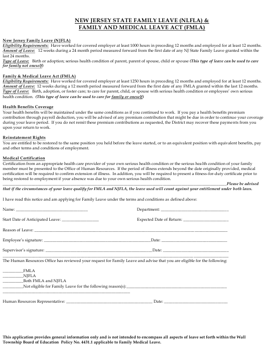Family Leave (Nlfla) & Family and Medical Leave Act (Fmla) Application Form - Wall Township, New Jersey Download Pdf