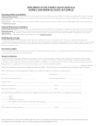 Family Leave (Nlfla) & Family and Medical Leave Act (Fmla) Application Form - Wall Township, New Jersey