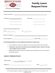 """Family Leave Request Form - Bridgeway Christian Academy"""