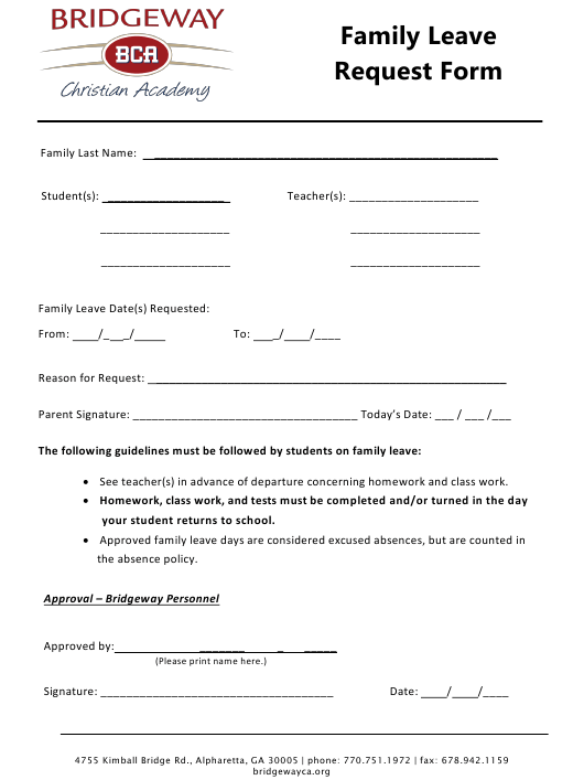 """Family Leave Request Form - Bridgeway Christian Academy"" Download Pdf"