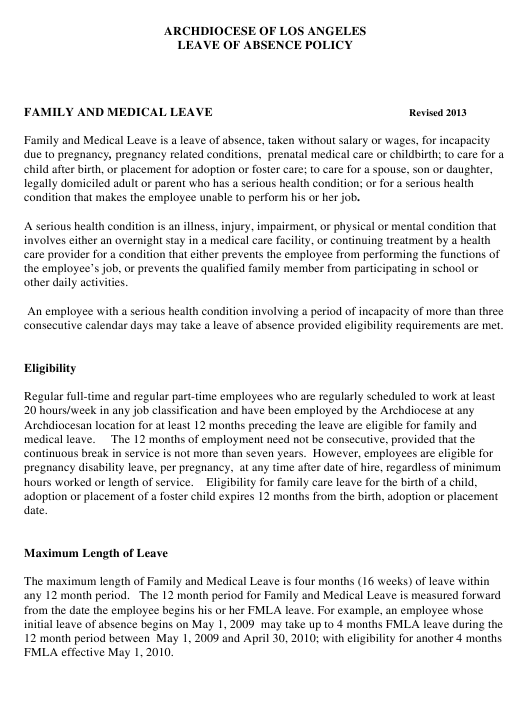 Family and Medical Leave Forms - Archdiocese of Los Angeles - Los Angeles, California Download Pdf