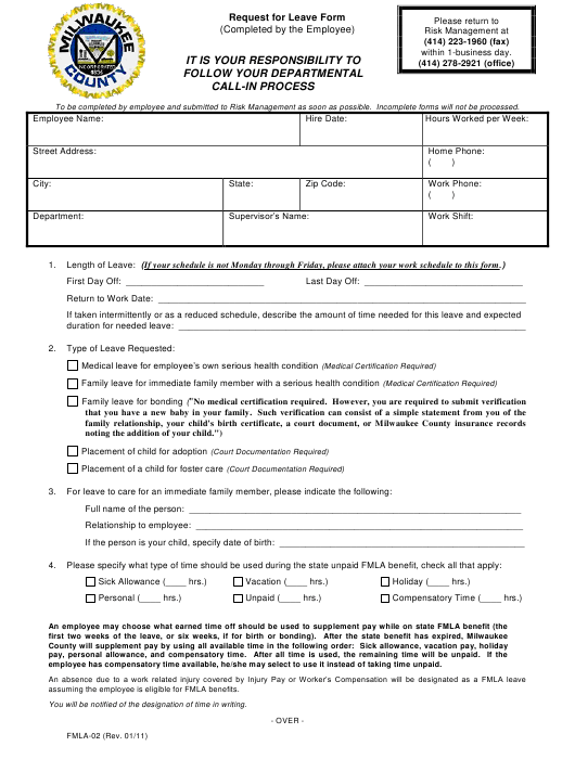 """Request for Leave Form"" - Milwaukee County, Wisconsin Download Pdf"