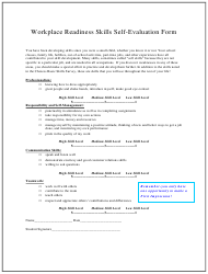 Workplace Readiness Skills Self-evaluation Form