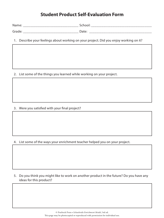 """""""Student Product Self-evaluation Form"""" Download Pdf"""