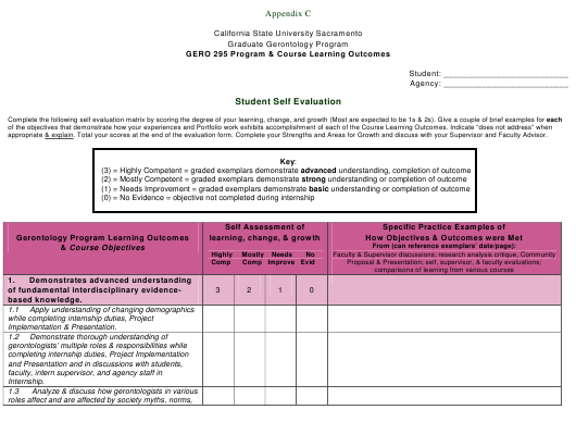"""Student Self Evaluation Form - California State University Sacramento"" Download Pdf"