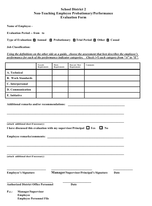 Non-teaching Employee Probationary/Performance Evaluation Form - School District 2 Download Pdf