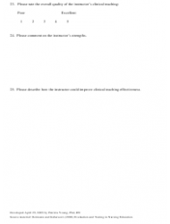"""Clinical Instructor Evaluation Form - Minnesota State Mankato School of Nursing"", Page 2"