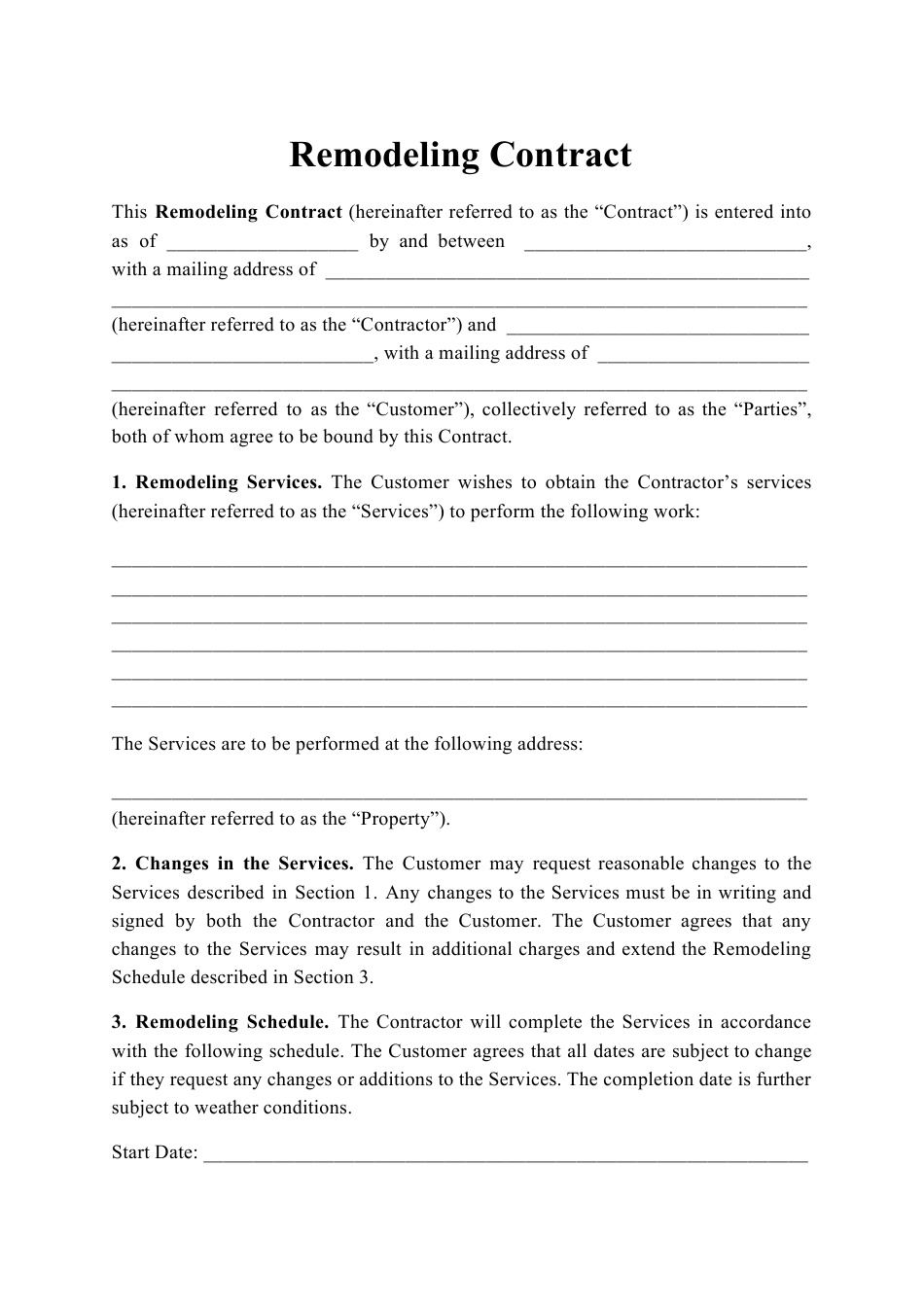 """""""Remodeling Contract Template"""" Download Pdf"""