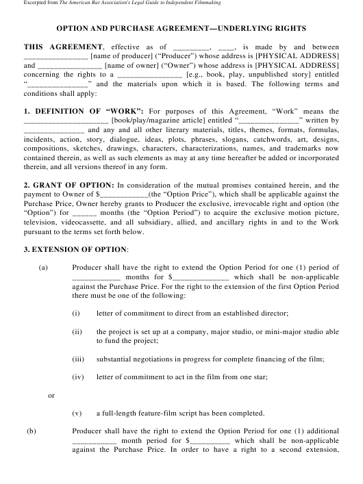 Option and Purchase Underlying Rights Agreement Form Download Pdf