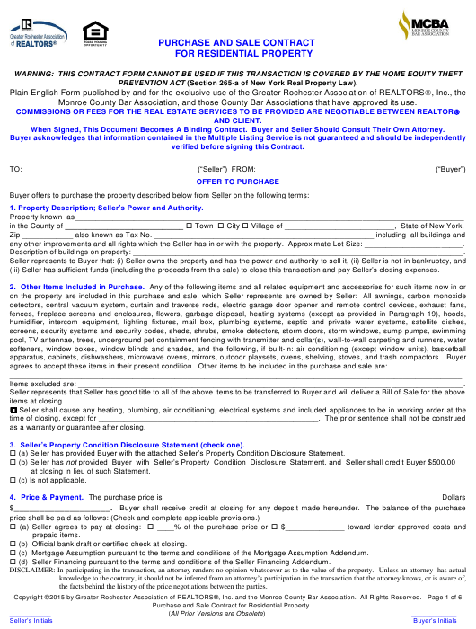 Purchase and Sale Contract for Residential Property - Greater Rochester Association of Realtors - Monroe County, New York Download Pdf