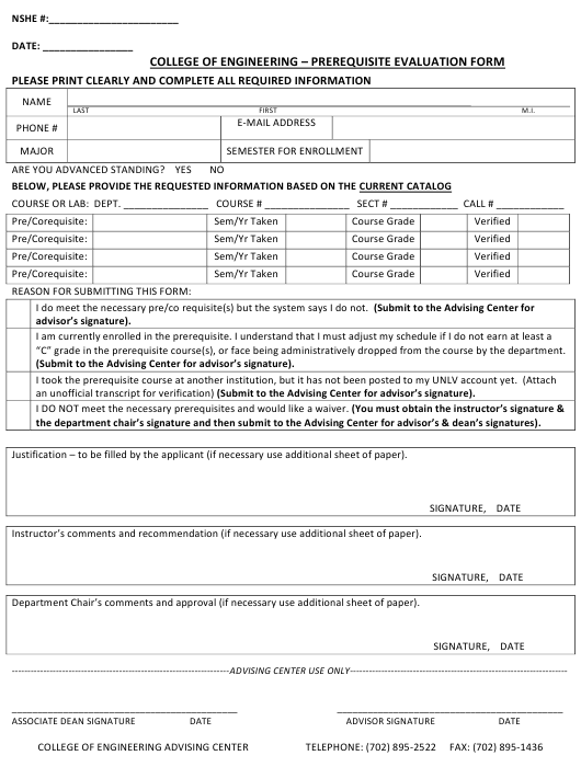 """""""Prerequisite Evaluation Form - College of Engineering"""" Download Pdf"""