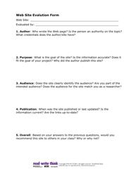 Web Site Evaluation Form - Readwritethink