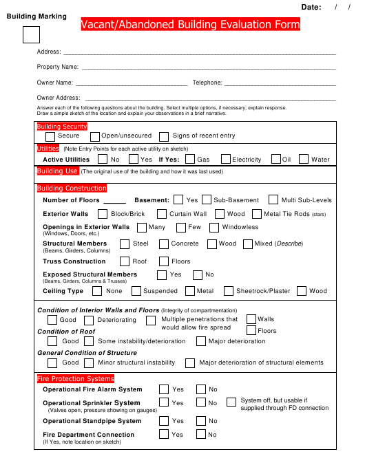 """Vacant/Abandoned Building Evaluation Form"" Download Pdf"
