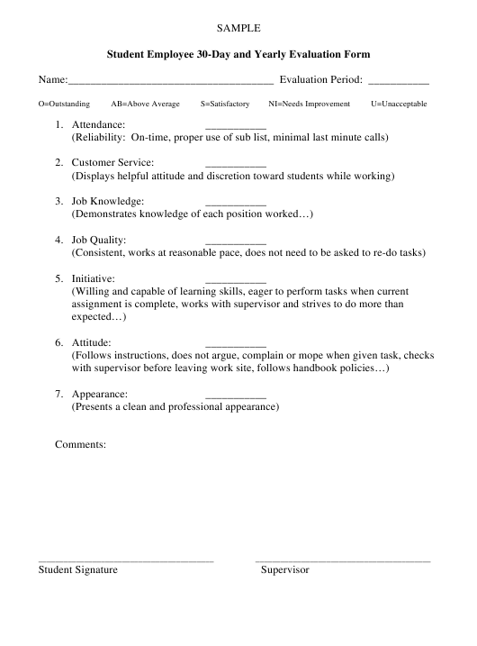 """Student Employee 30-day and Yearly Evaluation Form"" Download Pdf"
