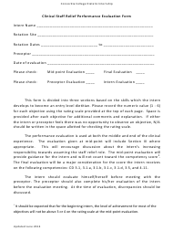 """Clinical Staff Relief Performance Evaluation Form - Concordia College Dietetic Internship"""