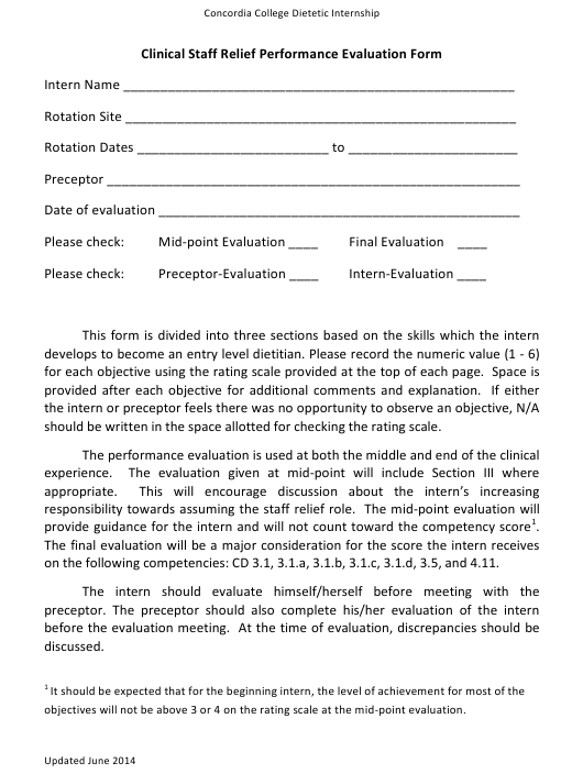 """Clinical Staff Relief Performance Evaluation Form - Concordia College Dietetic Internship"" Download Pdf"
