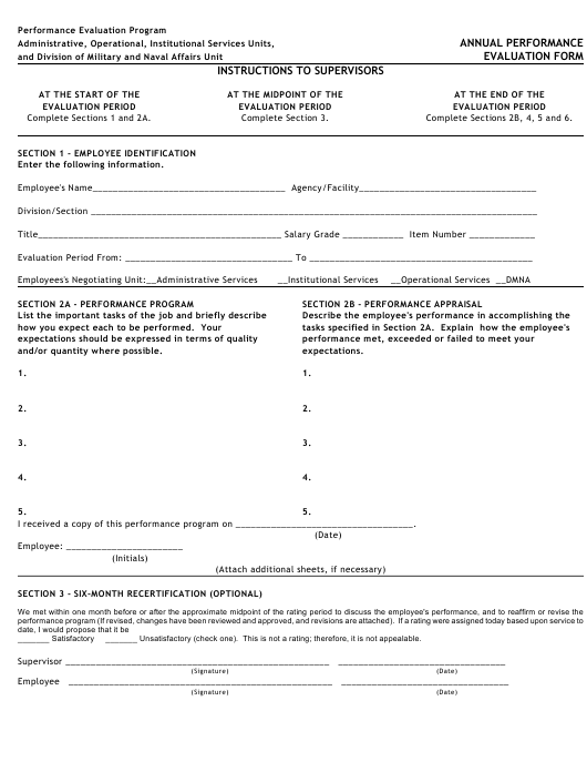 """Annual Performance Evaluation Form"" Download Pdf"