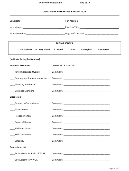 """Candidate Interview Evaluation Form"" Download Pdf"