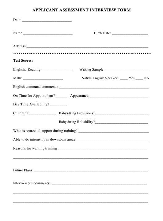 """Applicant Assessment Interview Form"" Download Pdf"