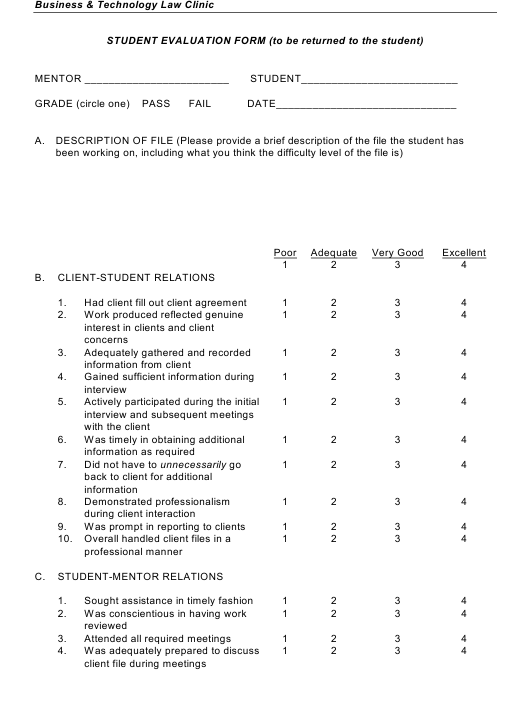 Student Evaluation Form - Business & Technology Law Clinic Download Pdf