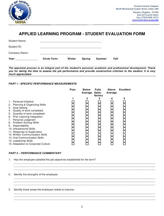 Applied Learning Program - Student Evaluation Form - University of North America Download Pdf