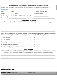 Health Law Externship Student Evaluation Form