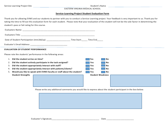 """Service-Learning Project Student Evaluation Form - Eastern Virginia Medical School"" Download Pdf"
