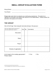 Small Group Evaluation Form