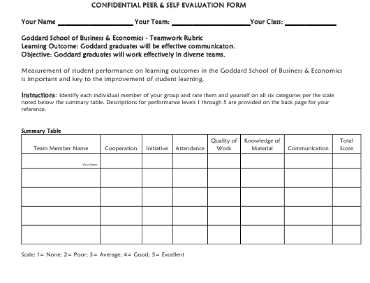 """Confidential Peer & Self Evaluation Form"" Download Pdf"