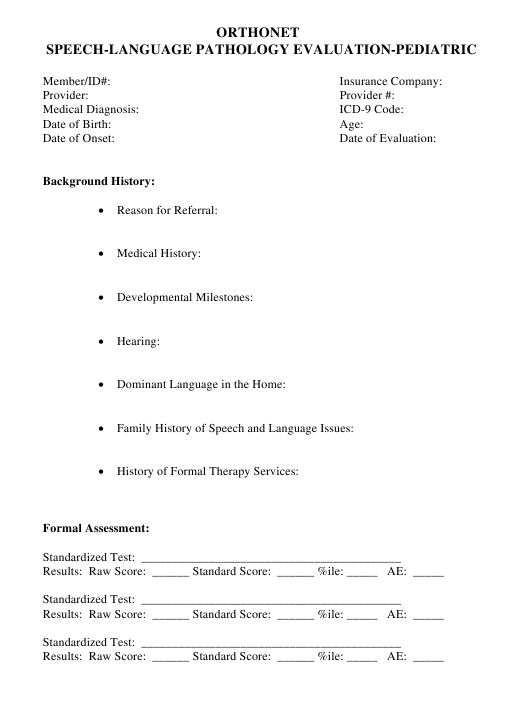Speech-Language Pathology Evaluation Template - Pediatric Download Pdf