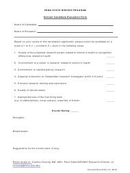 """Scholar Candidate Evaluation Form - Penn State Bircwh Program"""
