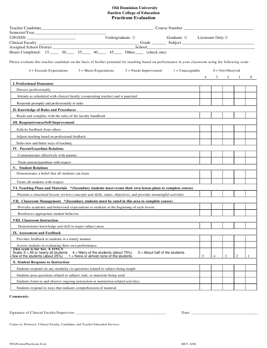 """Practicum Evaluation Form - Old Dominion University Darden College of Education"" Download Pdf"
