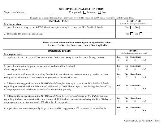 """Supervisor Evaluation Form"" Download Pdf"
