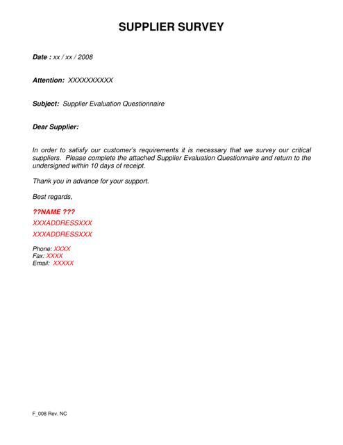 """""""Supplier Survey Template"""" Download Pdf"""