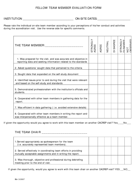 Fellow Team Member Evaluation Form Download Pdf