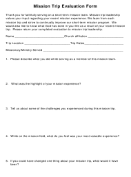 """Mission Trip Evaluation Form"""